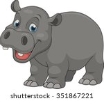 cute funny hippo | Shutterstock .eps vector #351867221