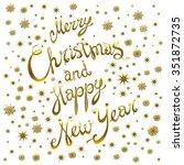 golden glowing merry christmas... | Shutterstock . vector #351872735