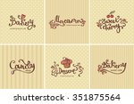 set of vector bakery logos.... | Shutterstock .eps vector #351875564