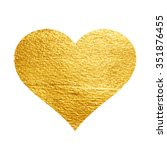 heart love gold watercolor... | Shutterstock .eps vector #351876455