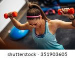woman lifting weights and... | Shutterstock . vector #351903605