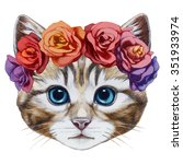 Portrait Of Cat With  Floral...