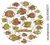 fishes in circle design.... | Shutterstock .eps vector #351939077