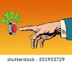 the red start button hand... | Shutterstock .eps vector #351953729