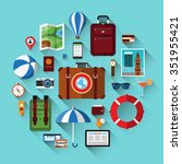 travel background with icons of ... | Shutterstock . vector #351955421