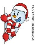 happy snowman hiding behind the ... | Shutterstock .eps vector #351957761
