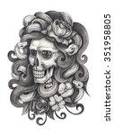 skull art day of the dead. hand ...   Shutterstock . vector #351958805