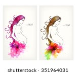 beautiful pregnant woman with...   Shutterstock .eps vector #351964031