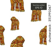 seamless pattern with elephant... | Shutterstock .eps vector #351991067