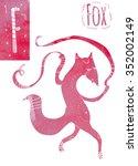 fun fox dancing with ribbons... | Shutterstock . vector #352002149