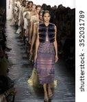 Small photo of New York, NY - September 15, 2015: Brenda Kranz walks the runway at the Dennis Basso fashion show during the Spring Summer 2016 New York Fashion Week at The Arc - Skylight Moynihan Station