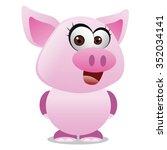 pig cartoon   pink happy piggy | Shutterstock .eps vector #352034141