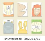 cute hand drawn doodle birthday ... | Shutterstock .eps vector #352061717