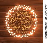 glowing white christmas lights... | Shutterstock .eps vector #352090199