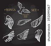 vector doodle wings set. angel... | Shutterstock .eps vector #352099367