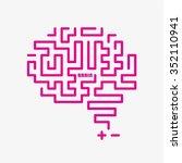 pink brain icon vector design  | Shutterstock .eps vector #352110941