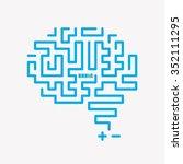 blue vector brain icon design | Shutterstock .eps vector #352111295