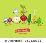 greek salad. cute  and funny... | Shutterstock .eps vector #352120181
