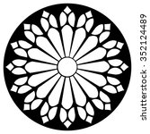 Gothic rosette window pattern, vector black and white illustration