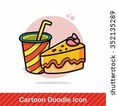drink and cake doodle   Shutterstock .eps vector #352135289