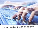 hands using white keybord and...   Shutterstock . vector #352152275
