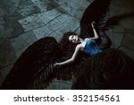 pretty girl demon with black... | Shutterstock . vector #352154561