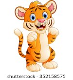 cartoon cute tiger | Shutterstock .eps vector #352158575