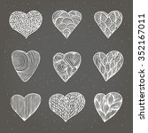 set of hand drawn hearts with... | Shutterstock .eps vector #352167011