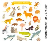 animals of the world  australia.... | Shutterstock .eps vector #352175309