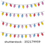 colorful light bulb garland... | Shutterstock .eps vector #352179959