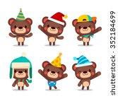 cute vector kiddy bear party... | Shutterstock .eps vector #352184699