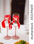 wedding glasses decorated with...   Shutterstock . vector #352195655