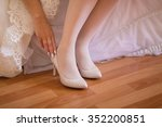 bride holding beautiful beige... | Shutterstock . vector #352200851