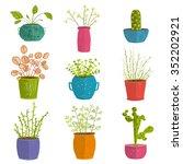 Set Of Green Indoor Plants In...