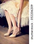 bride holding beautiful beige... | Shutterstock . vector #352206209