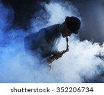 elegant saxophonist plays jazz... | Shutterstock . vector #352206734
