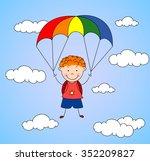 boy parachutist descends from...   Shutterstock .eps vector #352209827
