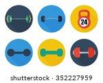 sport weights icons set flat....   Shutterstock .eps vector #352227959
