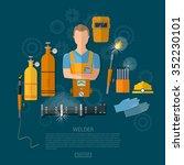 professional welder welding... | Shutterstock .eps vector #352230101