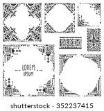 set of five borders with tribal ... | Shutterstock .eps vector #352237415