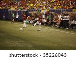 EAST RUTHERFORD, NJ - AUGUST 12: Gerzon Chacon #2 of Venezuela kicks the ball during their International Friendly match at Giants Stadium on August 12, 2009 in East Rutherford, NJ - stock photo