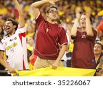 EAST RUTHERFORD NJ - AUGUST 12: Fans celebrate the first goal by Venezuela against Colombia during the International Friendly match at Giants Stadium on August 12 2009 in East Rutherford NJ - stock photo