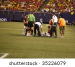 EAST RUTHERFORD NJ - AUGUST 12: injury time-out At Colombia against Venezuela during the International Friendly match at Giants Stadium on August 12 2009 in East Rutherford NJ - stock photo