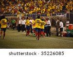 EAST RUTHERFORD NJ - AUGUST 12: Colombian players celebrate the first goal against Venezuela during the International Friendly match at Giants Stadium on August 12 2009 in East Rutherford NJ - stock photo