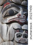 a hand carved totem featuring... | Shutterstock . vector #35227450