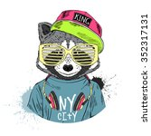 raccoon boy dressed up in cool... | Shutterstock .eps vector #352317131