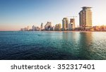 city of tel aviv at sunrise ... | Shutterstock . vector #352317401