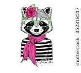 raccoon girl portrait in stripy ... | Shutterstock .eps vector #352318517