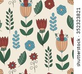 vector childish seamless floral ... | Shutterstock .eps vector #352323821