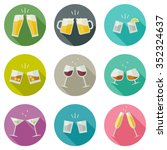 clink glasses icons. glasses... | Shutterstock .eps vector #352324637